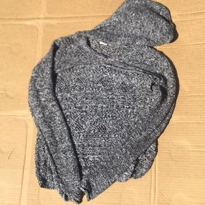Grey knit sweater with hood